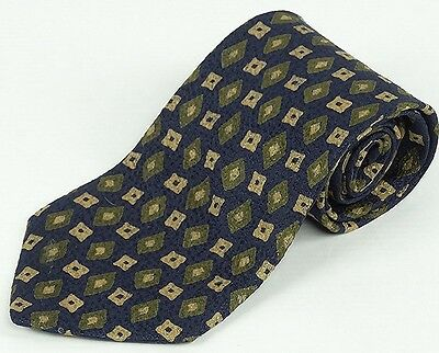 HUGO BOSS Silk Tie Designer Geometric Pattern Blue Made In Italy 58L