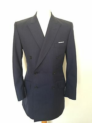 Vintage Bespoke Blue Double Breasted Suit  Size 38