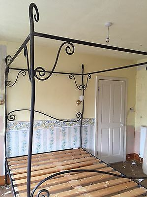 Rustic Handforged Wrought Iron Four Poster Kingsize Bed