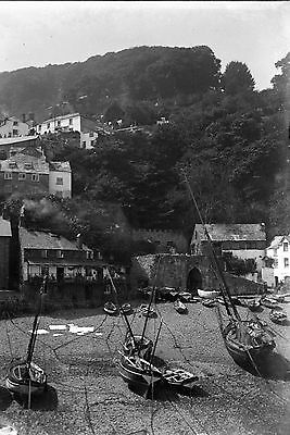 1910s CLOVELLY From Harbour Antique Photographic Glass Negative (Devon Cornwall)