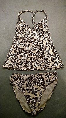 Size 10 Cream and Brown Maternity Swimsuit / Tankini by Mamas and Papas