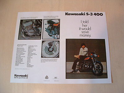 Kawasaki S3 400 Triple Brochure From Nos 1975 Original Kh H1 S1 S2 H2