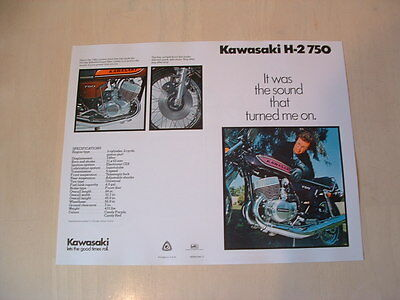 Kawasaki H2 750 Triple Brochure From Nos 1975 Original Kh H1 S1 S2 S3
