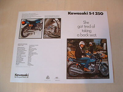 Kawasaki S1 250 Triple Brochure From Nos 1975 Original Kh H1 S3 S2 H2 H1