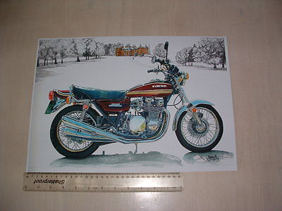 Kawasaki Z1B 1975 Art Poster From Nos Original