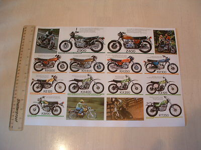 KAWASAKI 1976 BIKE RANGE POSTER FROM NOS ORIGINAL**Z900,Z400,KH500,400,250**etc