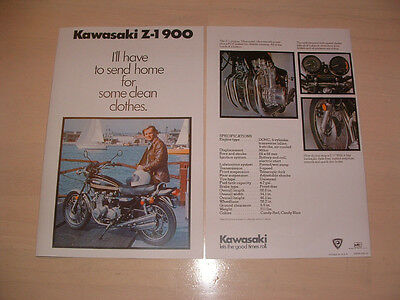 Kawasaki Z1 Brochure From Nos 1975 Original Z900 Z1A Z1B