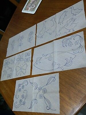 5 Vintage Embroidery Transfers Ducks, Flowers,butterfly, Pig, Scrolls, Leaves