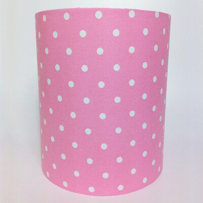 Pink with White Spots, Fabric Light / Pendant Ceiling Shade
