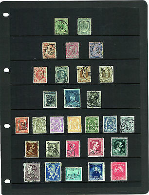 58 POSTAGE STAMPS – BELGIUM – 1869 to 1976 – 3 x HAGNER SHEETS