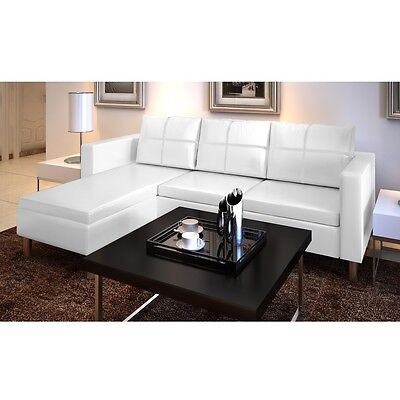 Modern 3-Seater White Artificial Leather Corner L Shaped Sectional Sofa Lounge