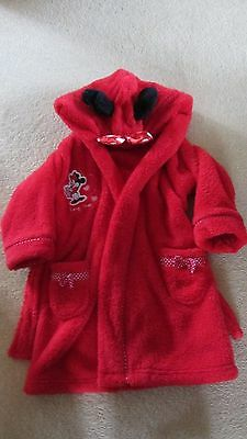 M&s Minnie Mouse Dressing Gown Bath Robe Soft Red Age 1 1/2-2 Years 18-24 Months