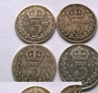 4 x Queen Victoria Threepence Coins - 1890,1891,1892&1893