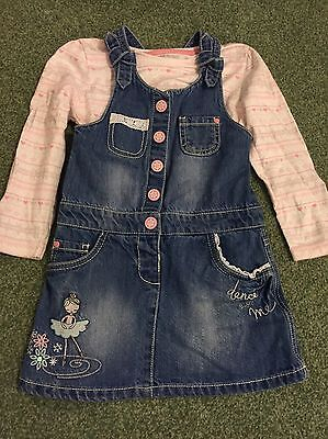 Girls Denim Pinafore Dress And Top Outfit Ballerina 3-4 Years