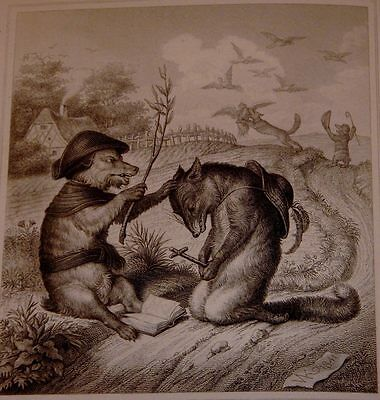 Engraving excised from the 1846 German First Edition of Reynard the Fox, #7