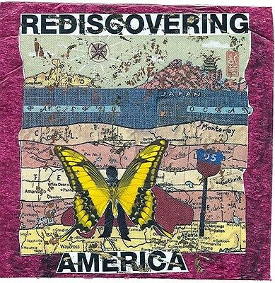 """REDISCOVERING AMERICA-mixed media collage 3""""x3"""" on 7.5"""""""