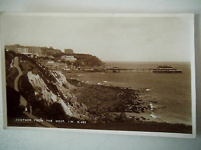 Ventnor from the West I W 1930s Old Postcard 1937 Real Photograph Bay Series