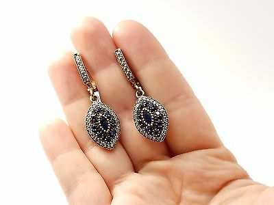 Antique Blue Marquise Sapphire 925 Sterling Silver Bronze Woman's Earrings USA