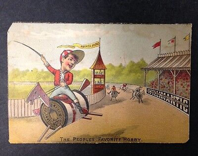 "Antique 1881 Victorian Trade Card ""America Ahead"" Willimantic The Best Thread"