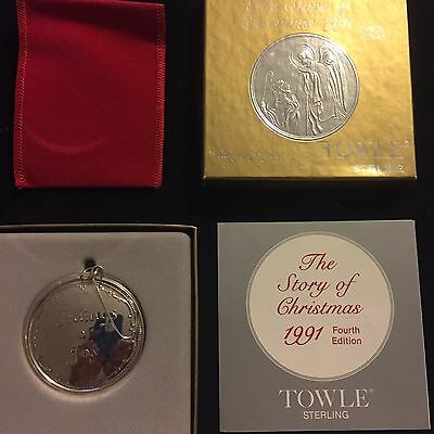 1991 TOWLE 925 Sterling Silver Tidings of Joy Angel Christmas Ornament