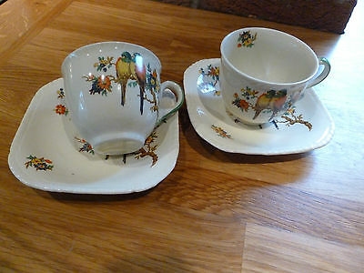 """Woolworth's """"birds"""" Pattern Two Cups And Saucers"""