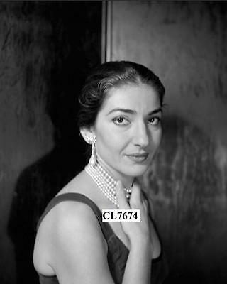Maria Callas Wears Diamond and Natural Pearl Pendent Earrings Portrait Photo