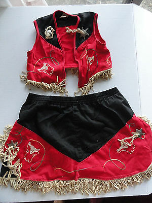 Girls Size 6 Black & Red Cow Girl Outfit Cosplay Pretend Walls of Tx