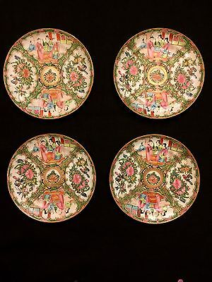 Early Antique Chinese Export Rose Medallion 4 Dinner Plates 8.5 Inch
