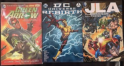 3 Comic Trade Paperbacks including Rebirth , JLA and Green Arrow (New 52)