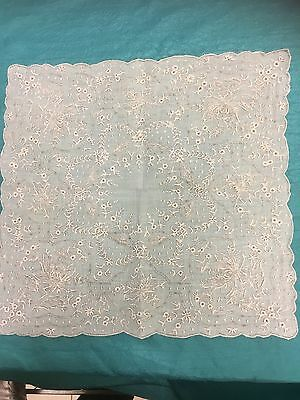 Antique / Vintage APPENZELL Style Heavily Embroidered Handkerchief Hanky EUC