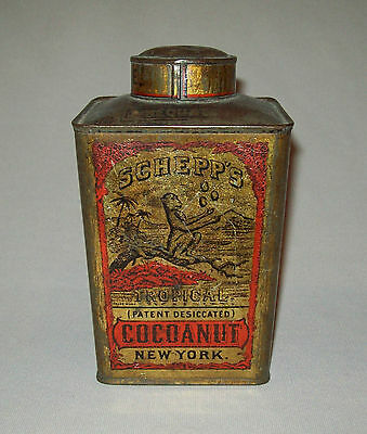 Antique vtg 1870s Schepps Tropical Cocoanut tin lith can with very nice graphics
