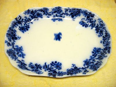 """ANTIQUE FLOW BLUE PLATTER ENGLISH 10"""" by 14""""  OLD BEAUTIFUL CHRISTMAS"""