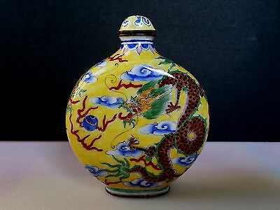 Chinese Canton Enamel on Copper Snuff Bottle Hand Painted Dragons Decoration