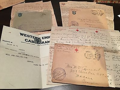 3 WWI Letter 1 telegram U.S. ARMY CPT. MEDICAL OFFICER EUROPE WORLD WAR PAIRS
