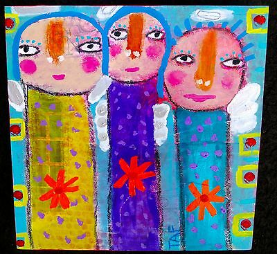 Tracey Ann Finley Original Outsider Folk Raw Brut Naive Painting Angel Wings Art