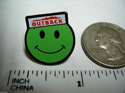 Outback Steakhouse Lapel Pin Hat Pin Outback Smiley Face Green