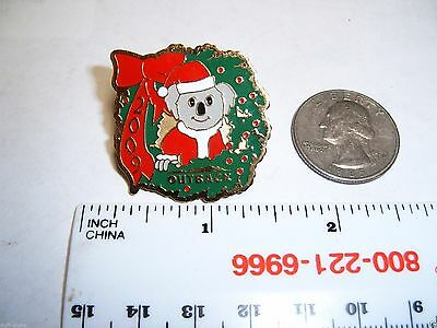 Outback Steakhouse Lapel Pin Hat Pin Outback Santa Koala Bear & Wreath 2009
