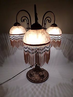 Reproduction 3 Light Art Deco Table Lamp Beaded Bubble Glass Shades