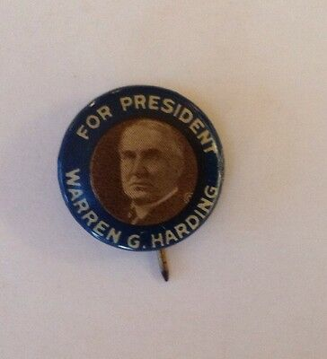 Vintage 1920 Warren Harding Celluloid Gem Picture Campaign Button