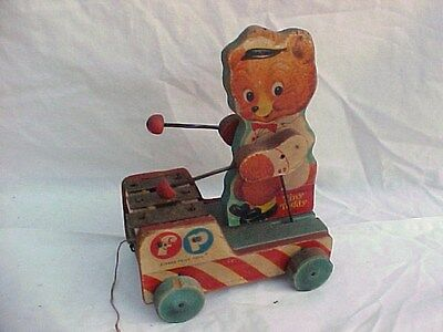 Fisher Price Tiny Teddy Musical Xylophone Pull Toy 1950's #636 Orig Candy Stripe