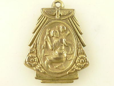 Vintage St Christopher My Protector Charm Metal Medallion