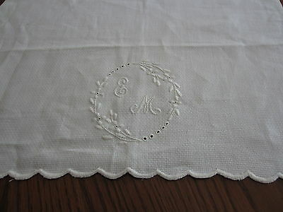 Antque Table Runner Or Dresser Scarf With Monogram E M