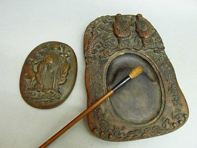 Chinese Pottery Carved Immortal Deer Tree Ink Slab / Ink Stone