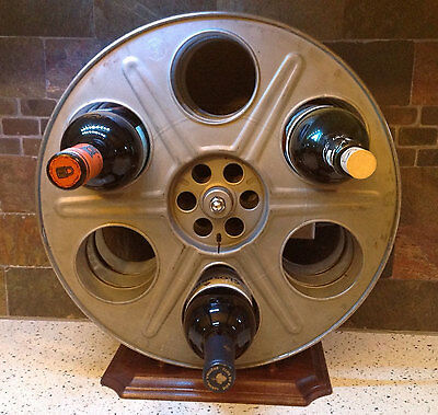 WINE RACK made from vintage 35mm movie motion picture film reels art deco