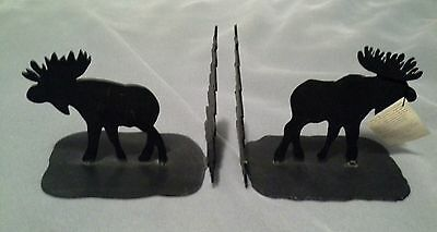 """Care & Wonder Co USA Wrought Iron Moose Pine Tree Book Ends 8"""" Tall"""
