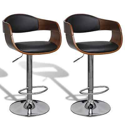 2 PC Bar Stool Iron Frame Leather Upholstery Chair Adjustable Cafe Kitchen Black