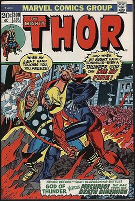Thor #208 Nice Vfn 8.0 Glossy Cents Copy With White Pages. John Buscema Art