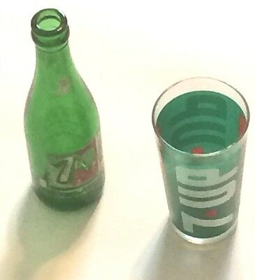 Vintage 7 UP  The Uncola Glass and Bottle