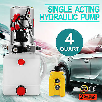 Single Acting Hydraulic Pump 12v Dump Trailer - 3 Quart Reservoir