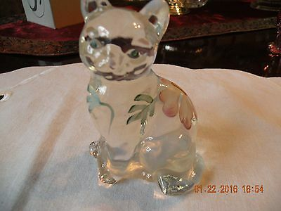 FENTON FRENCH OPALESCENT HAND PAINTED & Signed  5165 SEATED CAT